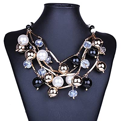 XY Fancy Fashion Multiple Layers Round Ball Chandelier Torsade Colorful Bib Necklace