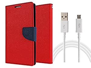 MAX JIO Wallet Flip Cover For Nokia Lumia 620 (RED) with usb cable
