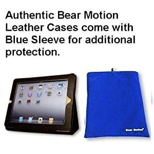 Bear Motion (TM) 100% Genuine Leather Case for iPad 2 2nd Generation Folio with 3-in-1 built-in Stand for Apple iPad 2 (Latest Generation) Tablet [Leather case enclosed in blue sleeve]