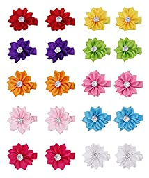 Grosgrain Ribbon Wrapped Alligator Baby Hair Bow Flower Clips (10 Pairs)