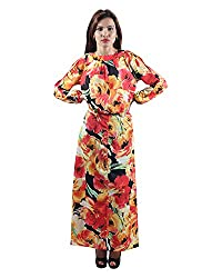 Envy Women's Blended Round Neck Dress (Coral, Free Size)
