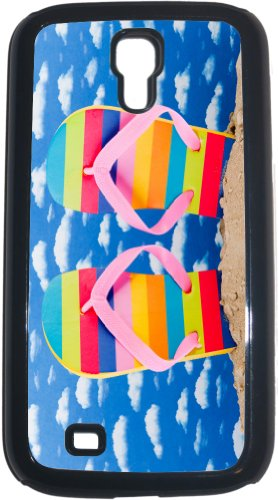 Rikki Knighttm Rainbow Striped Flip Flops In Sand With Pink Strap On Sunny Blue Sky Black Galaxy S4 Tough-It Case Cover For Galaxy S4 4 & 4S (Double Layer Case With Silicone Protection) front-657271