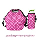 amerzam neoprene lunch bags lunch boxes waterproof outdoor travel picnic lunch box bag tote with zipper and adjustable crossbody strap rose red lunch bagwater bottle tote