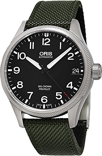 Oris Men's 'Big Crown' Swiss Automatic Stainless Steel and Leather Casual Watch, Color:Black (Model: 75176974164LS19)