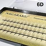 NAGARAKU Faux Mink Eyelash Extension 6D Volume Lash C Curl Thickness 0.07mm Length 12mm (6D X 12mm)