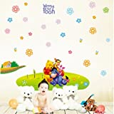 Gadfly- Snowflake And Winnie The Pooh Peel & Stick Nursery/baby Wall Sticker Decal