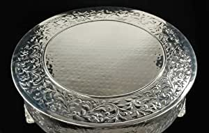 22 silver round wedding cake plateau stand with design