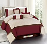 11-Pc Quilted Diamond Square Patchwork Modern Comforter Curtain Set Burgundy Brown Beige Queen