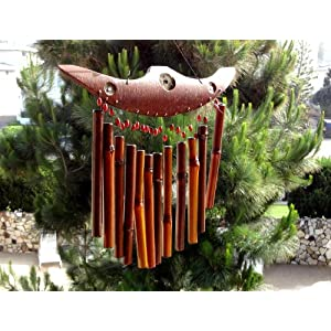 Asian Feng Shui Bamboo Windchime Patio Decoration