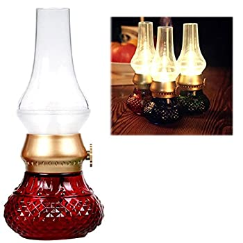 Anpress Decorative Rechargeable Flameless Candle Lantern, Vintage Oil Table Lamp with Blow ON/OFF Control, Dimmer Control Key, Kerosene Lamp , Bedside Lamp ,Small Night Light (Red)
