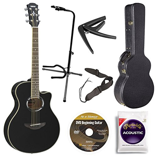 Yamaha APX500III BL Thin Line Acoustic/Electric Cutaway Guitar, Black Bundle with Case, Quick Start DVD and Accessories (Yamaha Acoustic Electric Guitar compare prices)