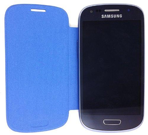 Flip Cover Case for Samsung Galaxy S III Mini GT-I8190 / S3 Mini GT-I8190 / SM-G730A / SCH-R530 / SM-G730V - Blue (Samsung Galaxy Iii Mini Battery compare prices)
