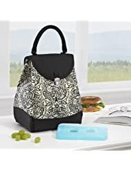 Tucson Insulated Lunch Bag with Ice Pack (Black & White Damask) by Fit & Fresh