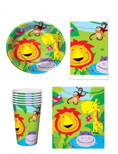 Animali della giungla - Set party da 16: 16 piatti, 16 tazzine, 16 tovaglioli di carta e 1 tovaglia
