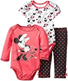 Disney Baby Baby-Girls Newborn Minnie Mouse Soft Fabric 3 Piece Layette Set, Pink, 0-3 Months