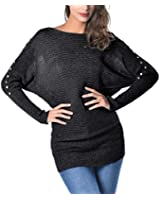EA Selection Womens New Plain Knit Loose Baggy Oversized Jumper Long Batwing Sleeve Sweater Top