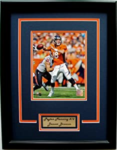 NFL Denver Broncos Peyton Manning Framed Portrait Photo with Nameplate by CGI Sports Memories