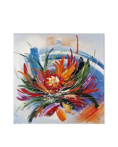 Arte Dal Mondo Edgar Ramirez Fiore Astratto 80X80X3,5 cm