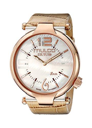 Mulco Mujeres MW5-3183-113 Couture Slim Analog Display Suizo cuarzo Beige Reloj