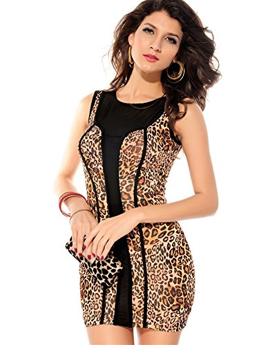 Sexy Women Package Hip Party Leopard Sleeveless Crew Neck Bodycon Mini Dress