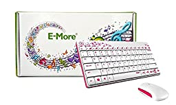 E-More® Portable Ultra-thin Waterproof 2.4G Wireless Keyboard With Ultra-thin Mouse Supporting Windows XP Win7 Win8 Mac Android, Perfectly with Microsoft Surface RT (white)
