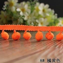 New 18 Colors 20yards/lot Pom Pom Trim Ball Tassel Lace DIY Sewing Accessory Lace Christmas Lace Decoration Fringe Pom Pom Lace orange