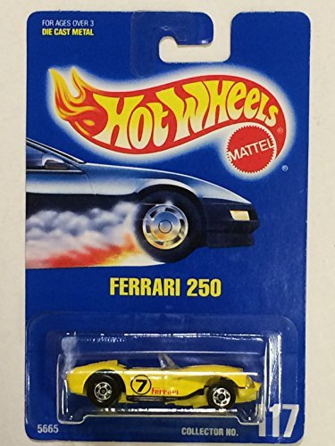 1991 - Mattel - Vintage Hot Wheels - Ferrari 250 - Yellow - Racing Graphics - 1:64 Scale Die Cast - Collector #117 - MOC - Out of Production - Limited Edition - Collectible - 1