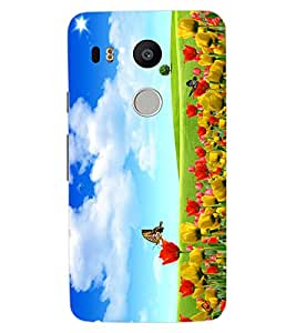 ColourCraft Beautiful Flowers Design Back Case Cover for LG GOOGLE NEXUS 5X