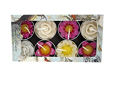 Hana Blossom Handmade Fairtrade Scented Glittered Flower Tealight Candle in Assorted Designs and Colours Gift Set, Set of 8 from Thang Tho Ltd
