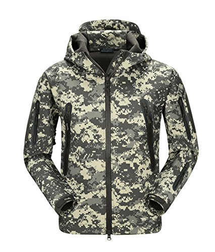 FREE SOLDIER Men Outdoor Tactical Softshell Jacket Waterproof Army Military Hooded jacket (ACU Digital (Women Army Uniforms)