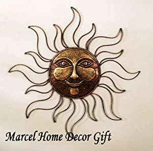 Amazon.com: Sun Face Metal Wall Art Decor Plaque,Indoor, Outdoor ...