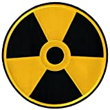 Nuclear Radiation Symbol Large Embroidered Patch Iron-On Danger Symbol Yellow Logo, Bags Central
