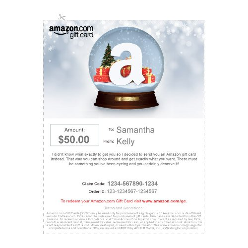amazon gift card print holiday snow globe cut out - Christmas Card Print Out