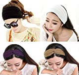 Elife Pack of 4 Solid Color-Black, White, Purple, Brown-Sports Yoga Exercise Hair Band Headwear Head Loop