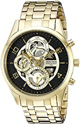Armitron Men's 20/5047BKGP Multi-Function Skeleton Dial Gold-Tone Bracelet Watch