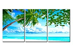 Canvas Print Wall Art Painting For Home Decor Tropical White Sandy Beach With Coconut Palm Tree Blue Sea And Sky In Caribbean 3 Pieces Panel Paintings Modern Giclee Stretched And Framed Artwork The Picture For Living Room Decoration Seascape Pictures Phot