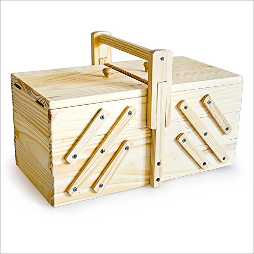 Large Wooden Sewing Box 30 x 15.5 x 19 cm For Sewing Supplies Fold-Out Box (Sewing Supply Box compare prices)