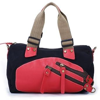 Eshow Women's Canvas Weekend Travel Duffel Bag, Large, Black