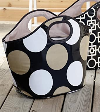 Mud Pie Cooler Tote, Black and Tan Dottie
