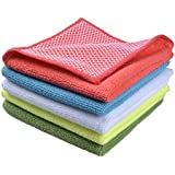 Sinland Microfiber Dish Cloth Best Kitchen Cloths Cleaning Cloths With Poly Scour Side 12Inchx12Inch Assorted Color 5 Pack