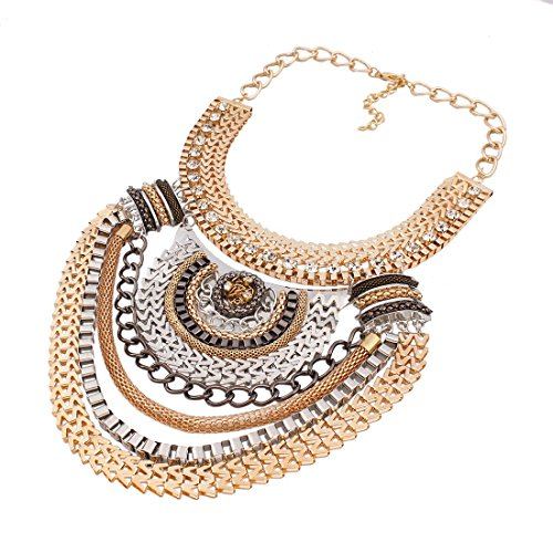 QIYUN.Z (TM) Funky Ethnic Tribal Colorful Multiple Chain Bib Choker Statement Collar Necklace (Full Range Jewelry compare prices)
