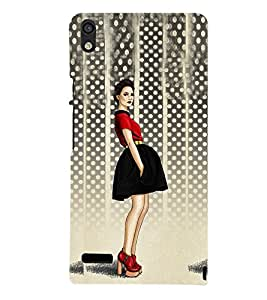 Stylish Girl Design Cute Fashion 3D Hard Polycarbonate Designer Back Case Cover for Huawei Ascend P6