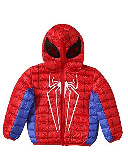Spider-man Boy's Kids Jacket Winter Down Coat With Hood (110cm 43'', Red)