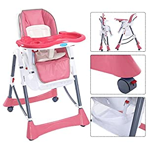 Portable Baby High Chair Infant Toddler Feeding Booster Folding Highchair Pink from petswholesaler