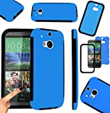 Magic Global Gadgets - Blue Front & Back Full Body Protector Hard Armour Hybrid Shock Proof Case Cover For HTC One 2 / HTC One M8 With Built In Screen Protector & Mini Stylus Pen