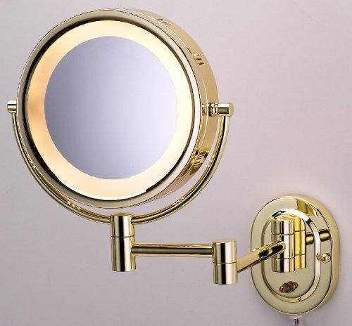 Lighted 5X Make Up Mirror In Brass Finish For Makeup