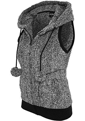 Urban Classics Ladies Melange Teddy Vest Gilet donna nero/bianco S