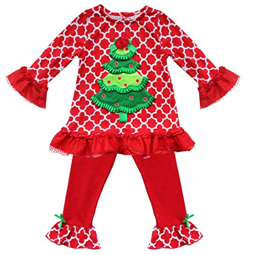 iEFiEL Holiday Baby Girls Christmas Tree Red Top with Leggings Outfit