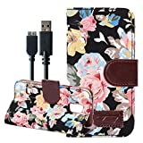 For Galaxy S5 Case, with 3.0 Charger Cable Flower Designed Wallet PU Leather Protective Flip Folio Slim Fit Stand Case Cover (Flora-Black)