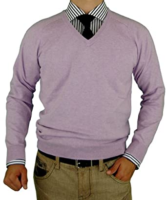 Luciano Natazzi Classic Fit V-Neck Premium Cotton Sweater with a Cashmere Touch and Feel in 8 Colors (Small, Lavender)